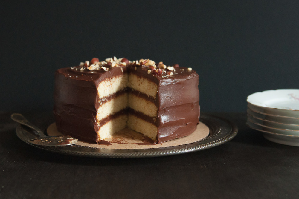 Hazelnut Cake with Chocolate Sour Cream Frosting | O&O Eats