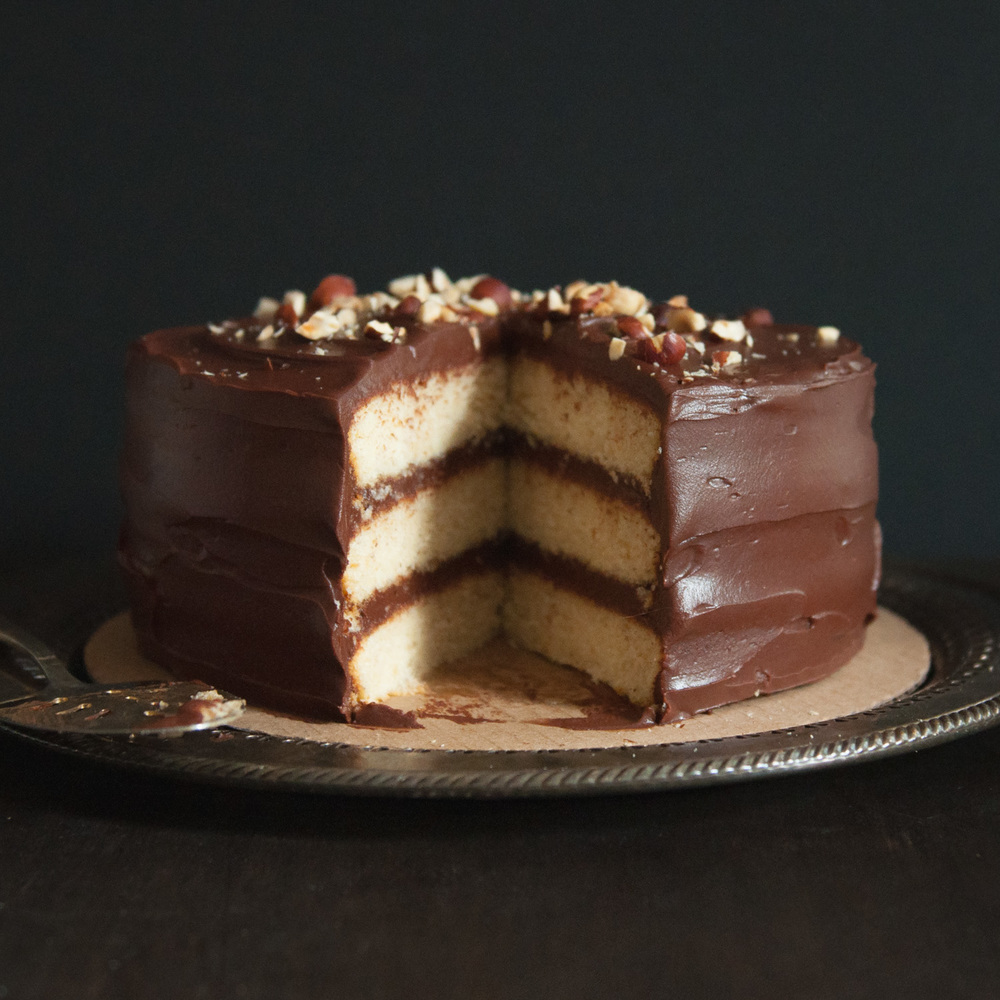 Hazelnut Cake with Chocolate Sour Cream Frosting