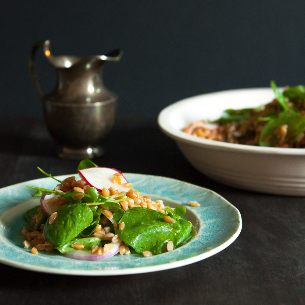 Farro Salad with Honey Miso Dressing