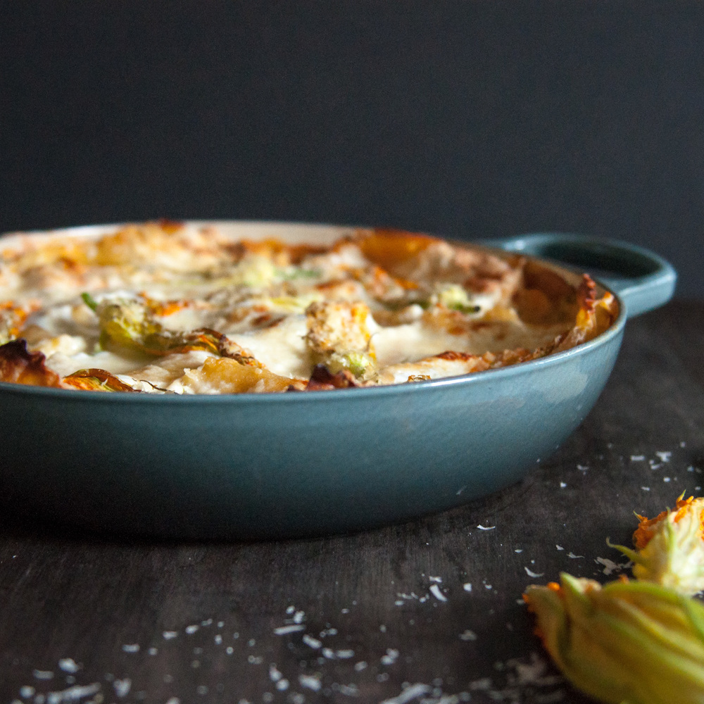 Spring Vegetable Lasagna with Heirloom Tomato Béchamel