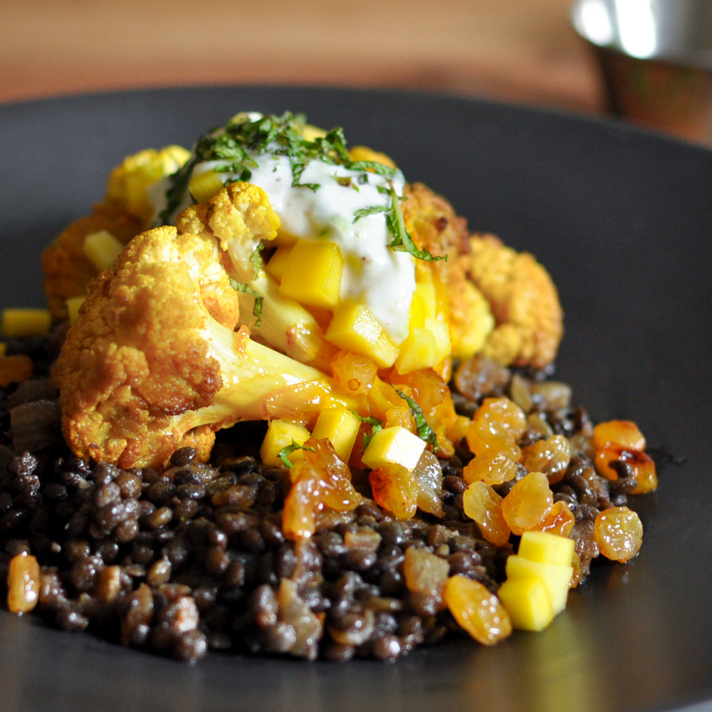 Slow Roasted Cauliflower with Beluga Lentils