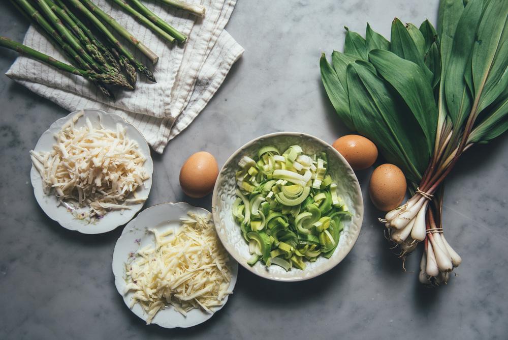 Leek, Asparagus, Ramp Quiche