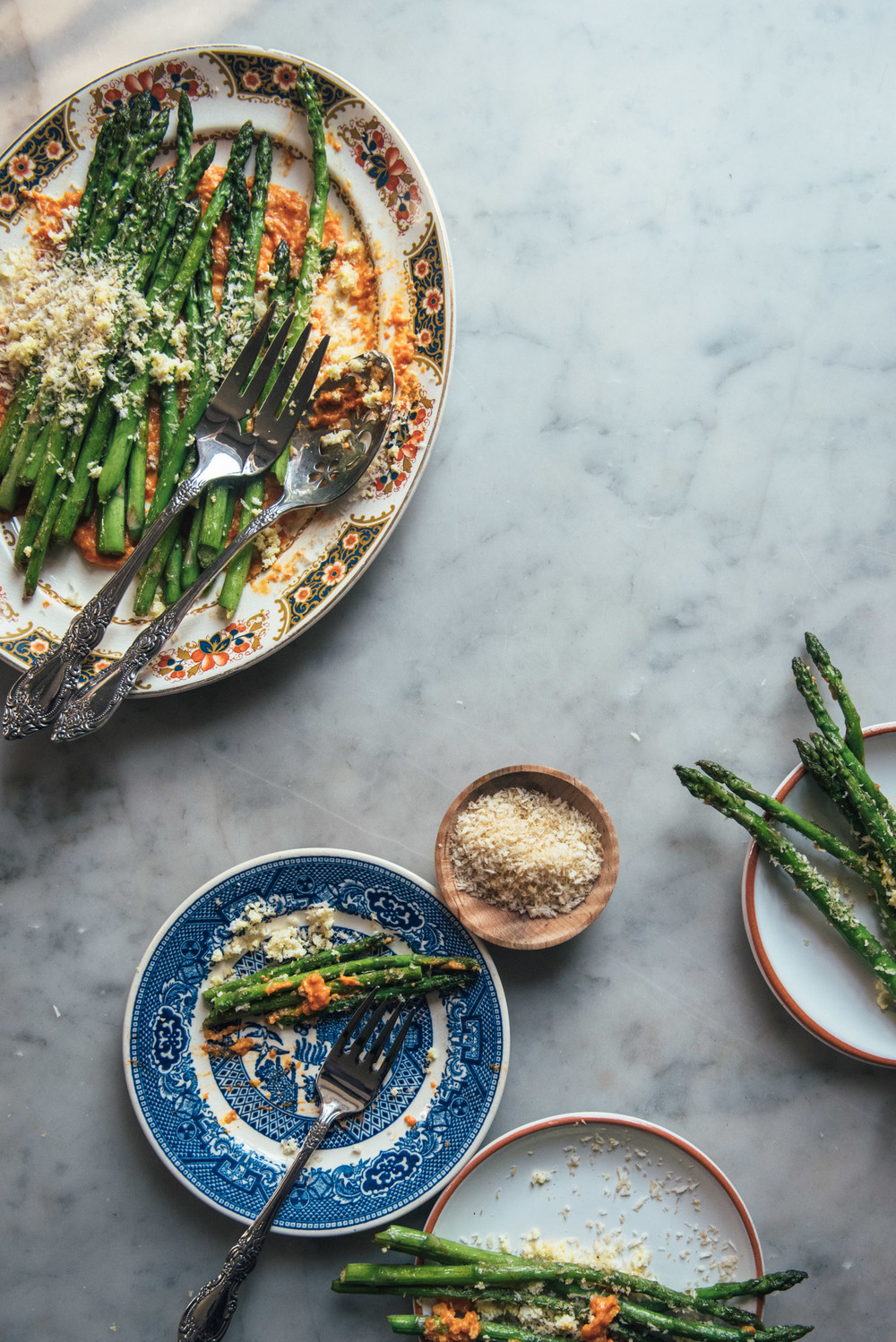 Pan Fried Asparagus with Romesco Sauce