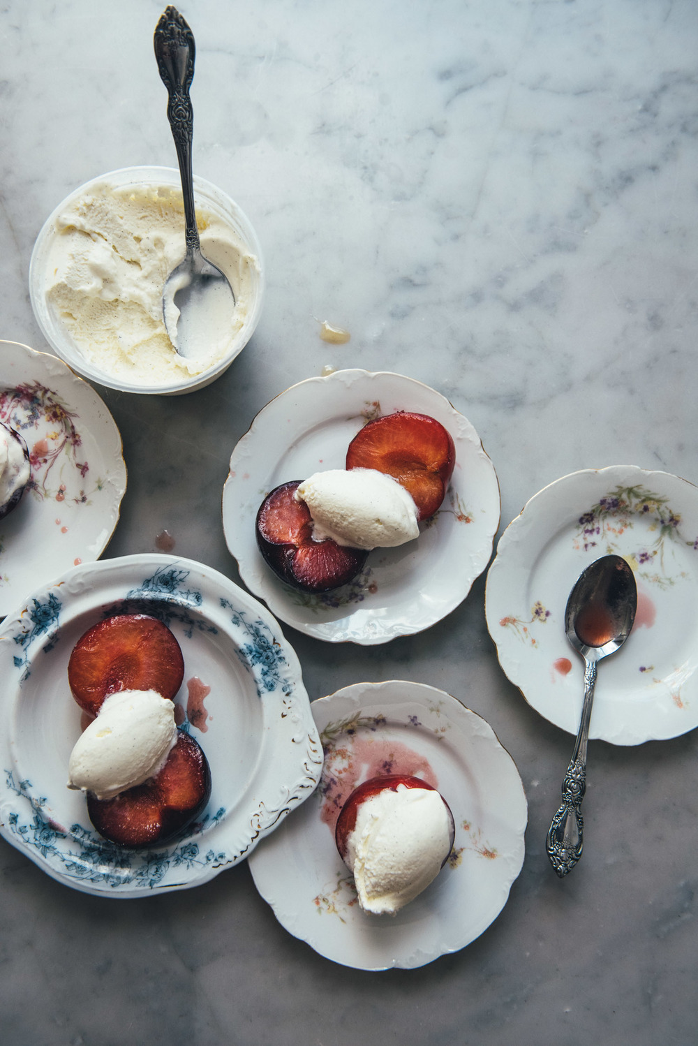 Roasted Plums with Vanilla Bean Ice Cream