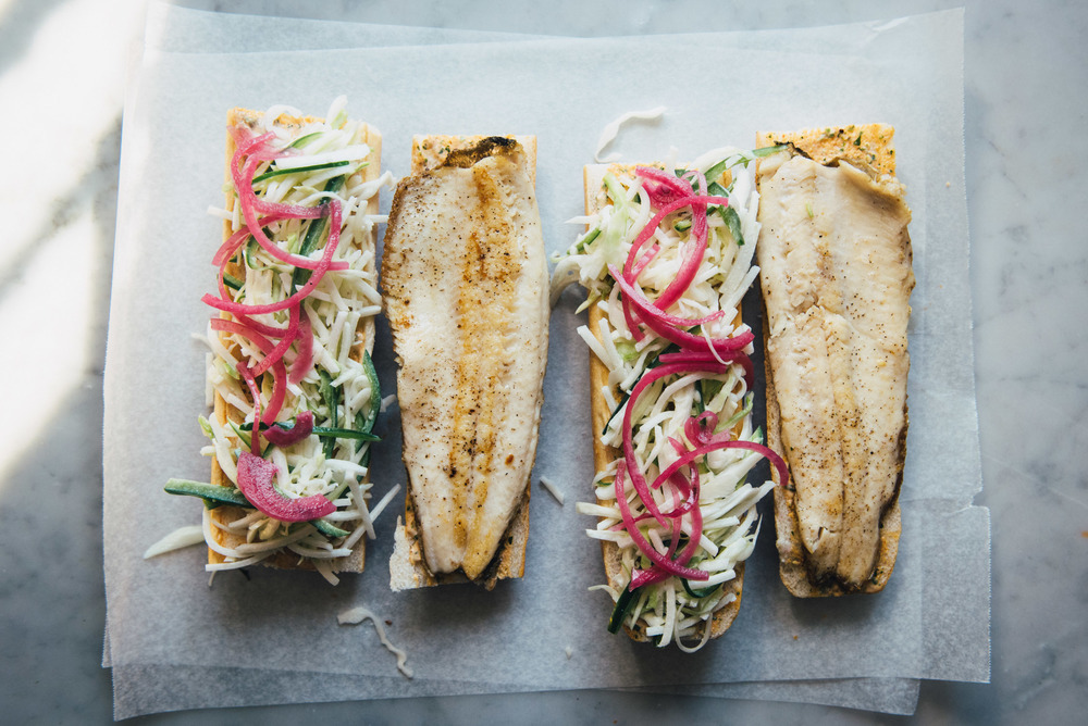 Trout Po' Boy with Jalapeno Jicama Slaw