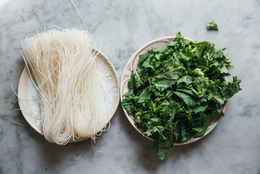 Herbal Rice Noodle Salad With Broccoli Rabe
