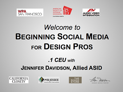 "Download a FREE copy of the slides from our .1 CEU ""Beginning Social Media for Busy Design Pros"". If you attended our presentation at the San Francisco Design Center, or if you are just curious what the content of this class may be, you can view the PowerPoint slides in a PDF file 26.4MB in size."