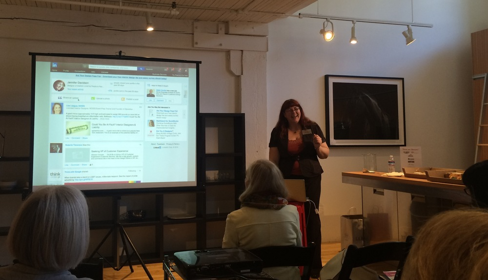 Jennifer Davidson, Allied ASID, Social Media Chair of ASID California North Chapter teaching at the WPA San Francisco showroom / photo courtesy Rise Krag of RKI Interior Design