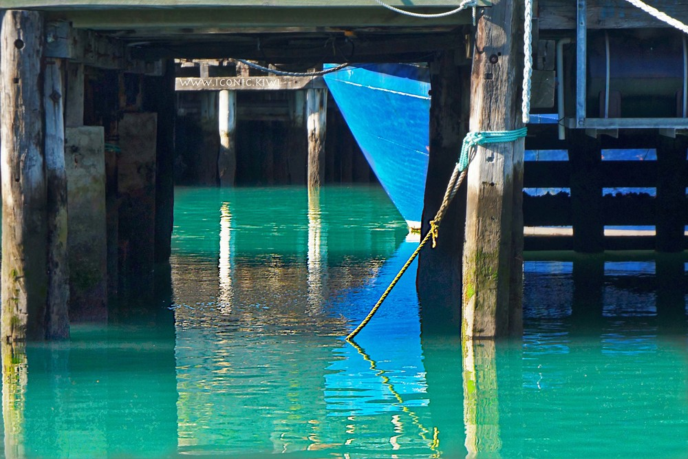 Lyttelton Harbour reflections in blue and green