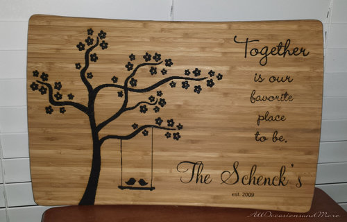 tree and bird bamboo cutting board laser engraved with saying,