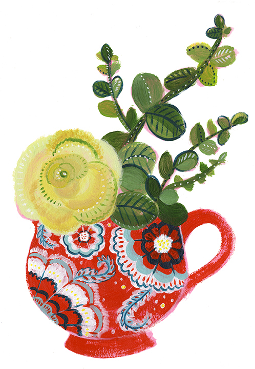 Flowers in Red Cup