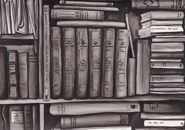 Jennifer Magno,  The Bookshelf,  Ink on paper, 148 x 210mm (approx) SOLD