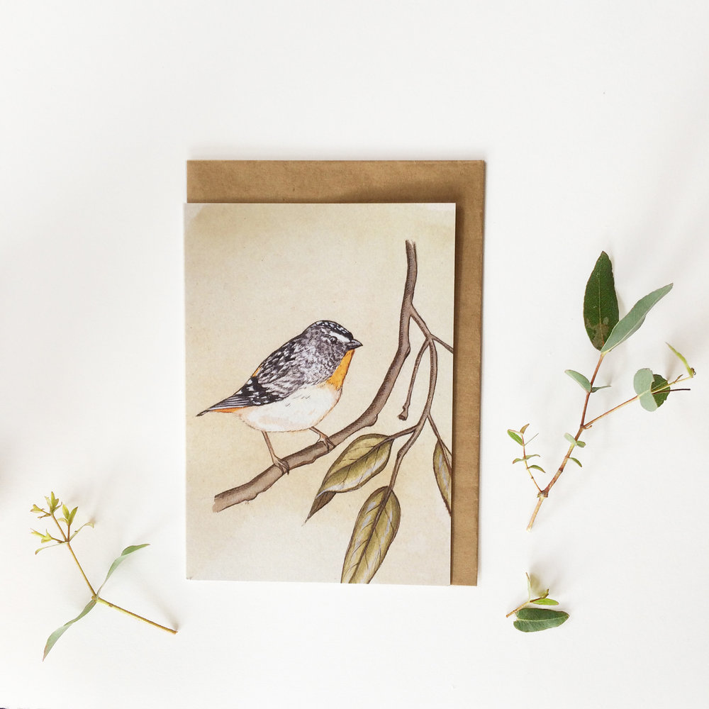 Forty Spotted Pardalote  - Blank Greeting Card - A6 (148 x 105 mm or 5.83 x 4.13 inches) when closed - Professionally printed on a 100% recycled card stock.