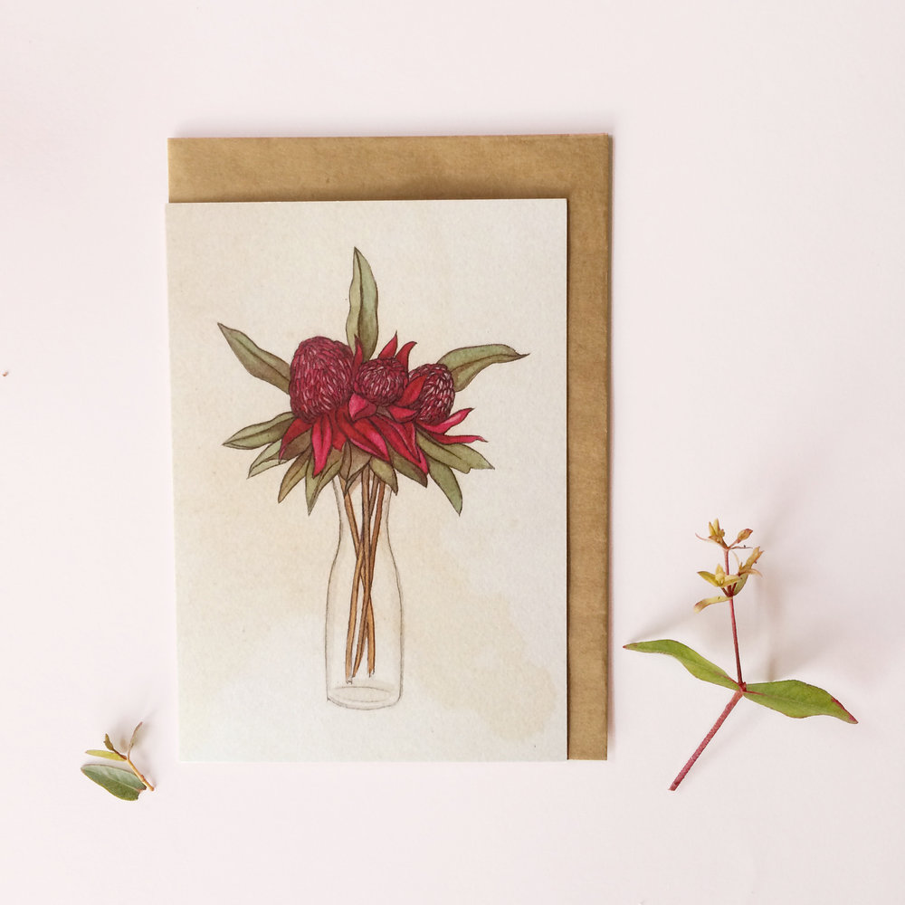 Waratah  - Blank Greeting Card - A6 (148 x 105 mm or 5.83 x 4.13 inches) when closed - Professionally printed on a 100% recycled card stock