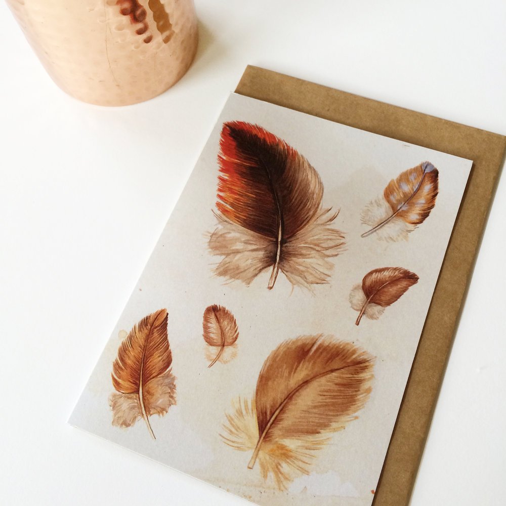 Feathers #2  - Blank Greeting Card - A6 (148 x 105 mm or 5.83 x 4.13 inches) when closed - Professionally printed on a 100% recycled card stock.