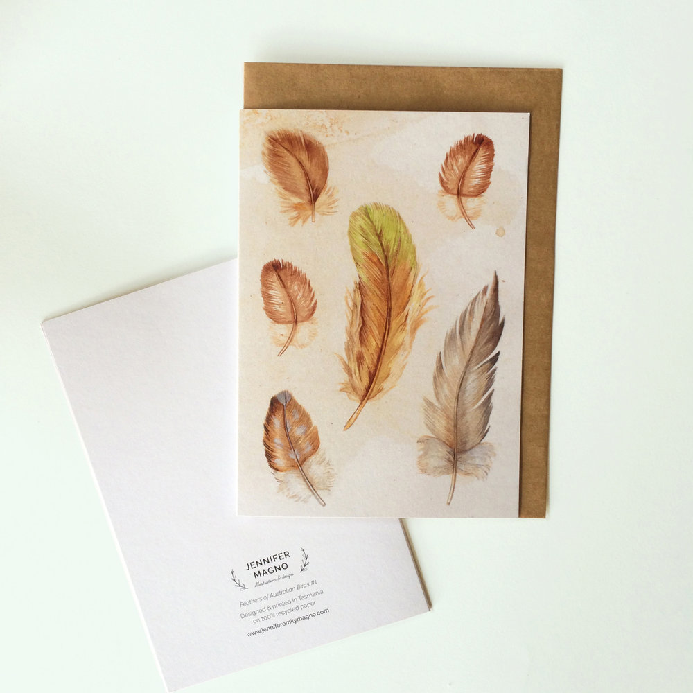 Feathers #3  - Blank Greeting Card - A6 (148 x 105 mm or 5.83 x 4.13 inches) when closed - Professionally printed on a 100% recycled card stock.