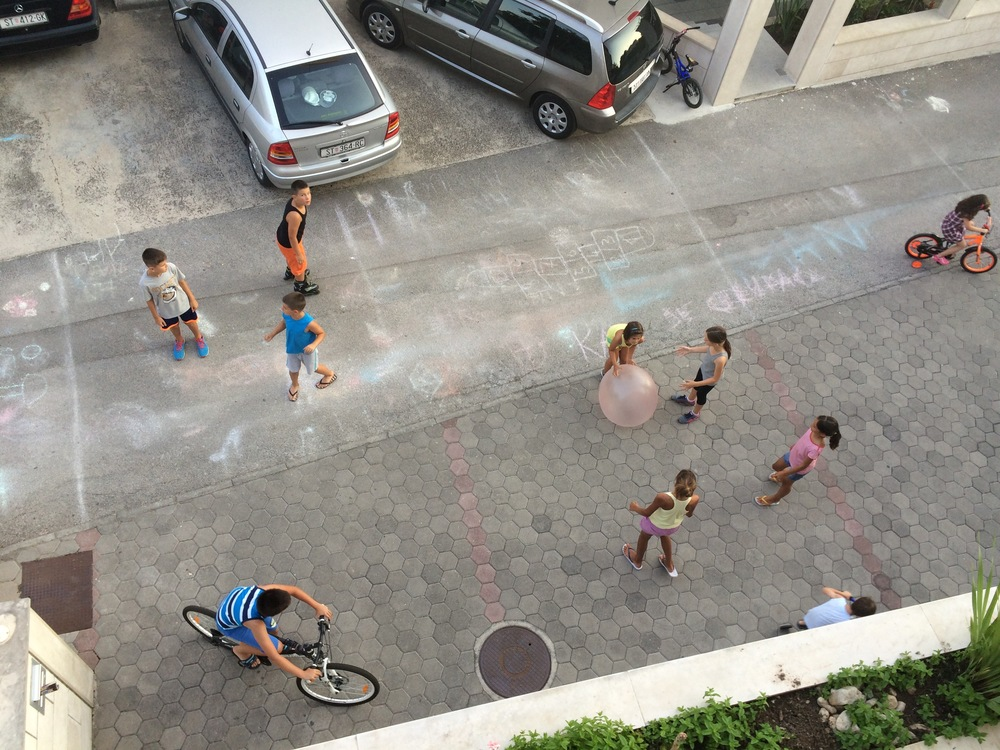 The kids on our street. You can usually find around 15 kids outside playing together.