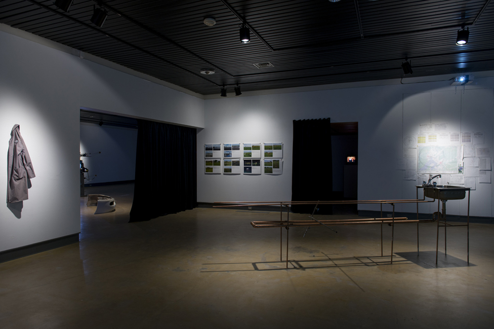 installation view - Land Lost exhibition Galerie d'art Louise et Reuben Cohen, Moncton, 2014 documentation by Mathieu Léger