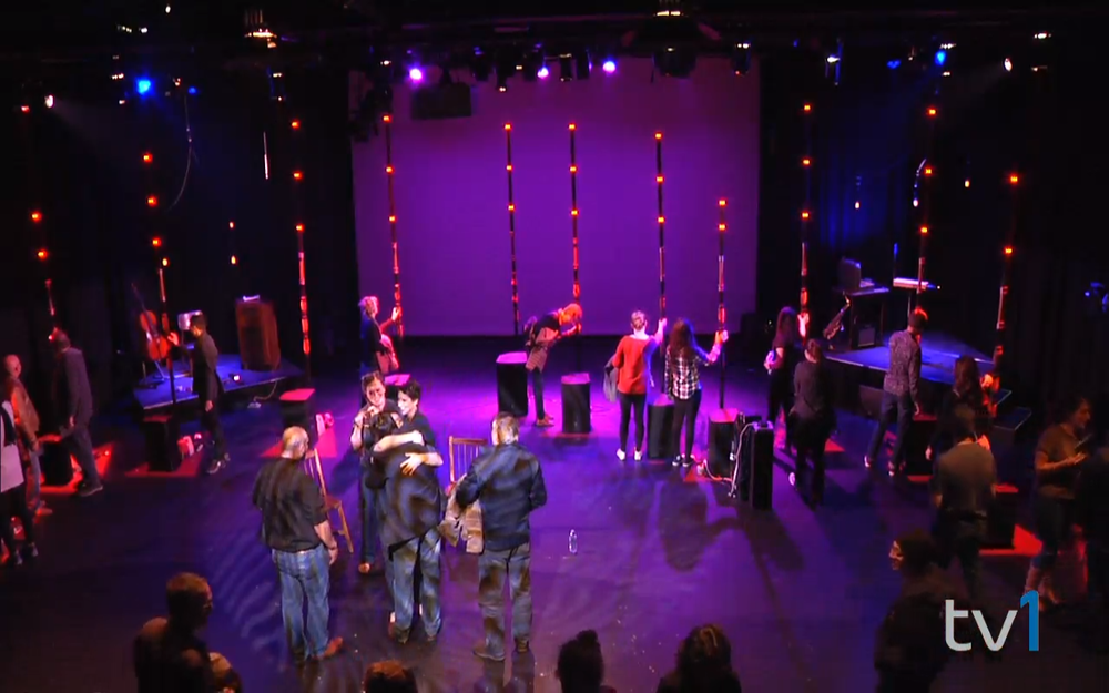 Screen capture of the Bell TV1 live video stream of the Requiem for Radio: Full Quiet Flutter performance (this is the crowd mingling after the show)