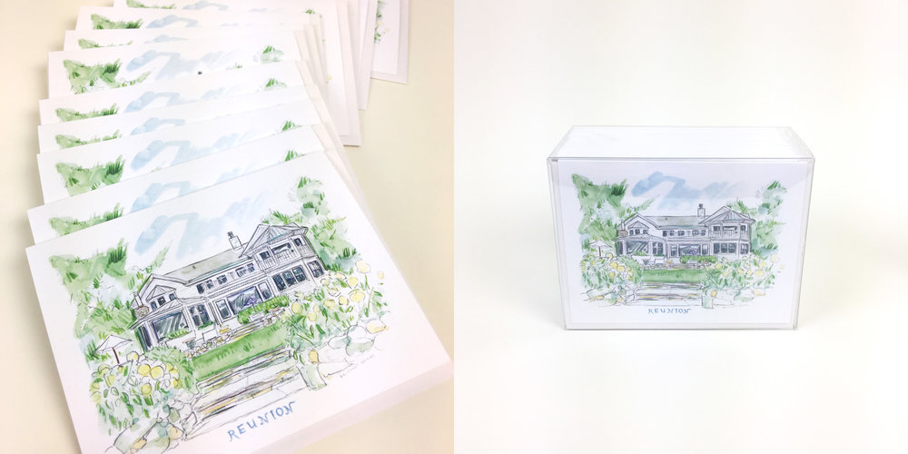 Custom illustration of your home with stationery for writing thank you's and hello's.
