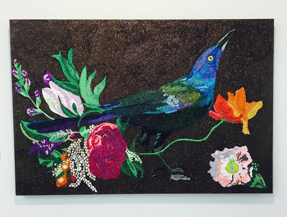 Glittering Grackle, glitter, acrylic on panel, 2016