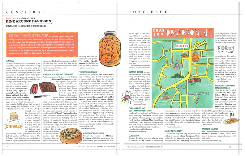 """Dine Around Davidson"" Food and Map Illustration for The Local Palate Dec 15/Jan 16 Issue"
