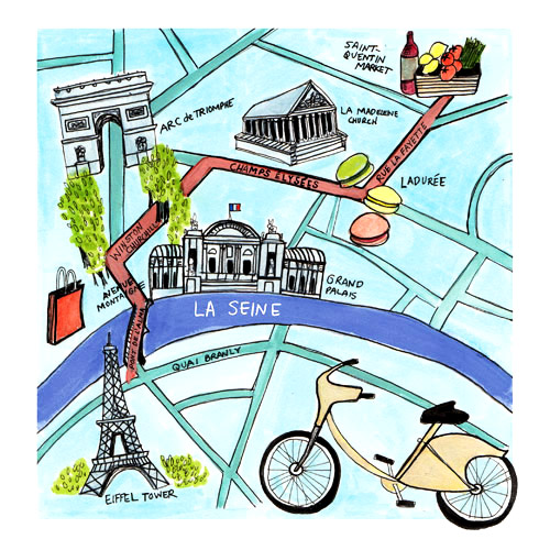 "Paris Map for ""A Bike Ride in Paris,"" article for the Globe & Mail May 2015"
