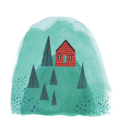 In the Mountains Illustration for Note Card