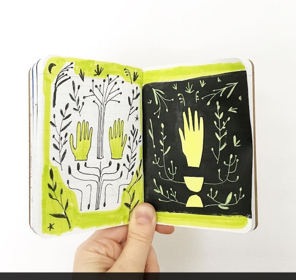 Hands study in the mini sketchbook