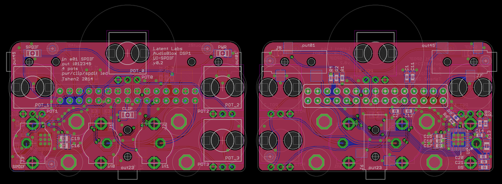 PCB layout: front (left) and back (right)