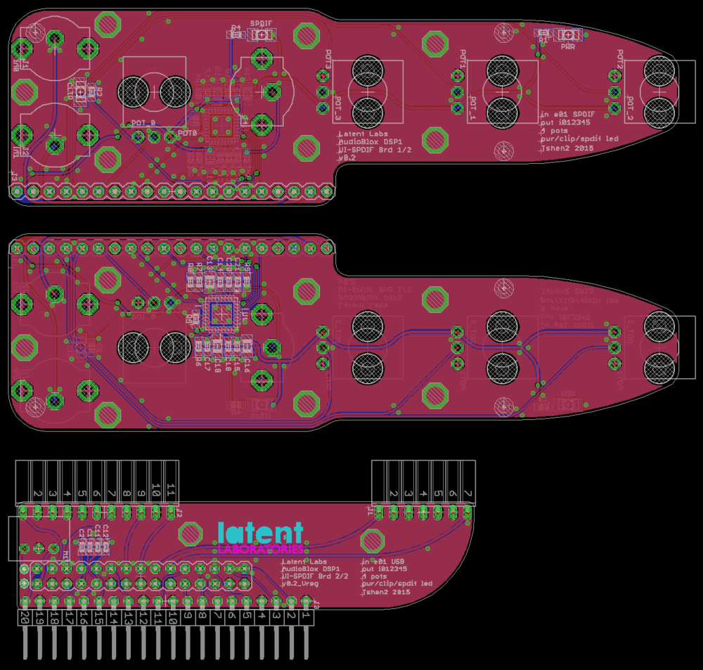PCB layout: control panel front (upper) & back (center), orthogonal backplate (lower).