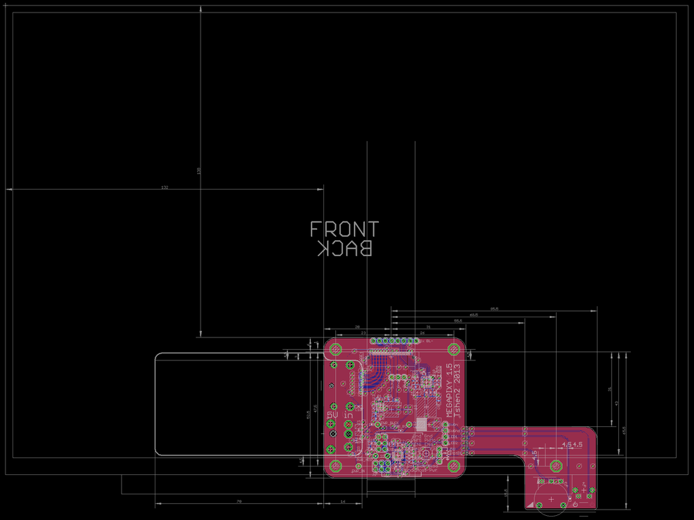 mechanical drawing, showing position of control board relative to LCD panel