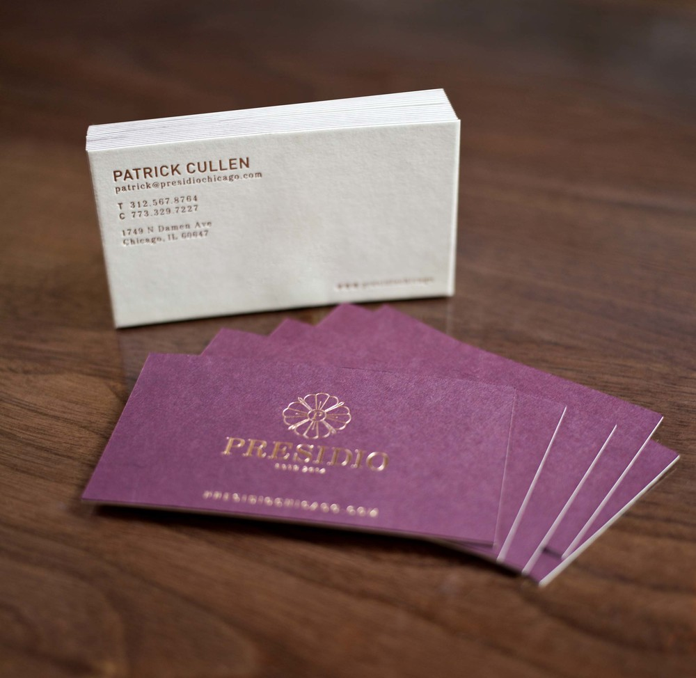 Presidio Chicago business carddesign and style, check out that gold foiling! These cards mean business.