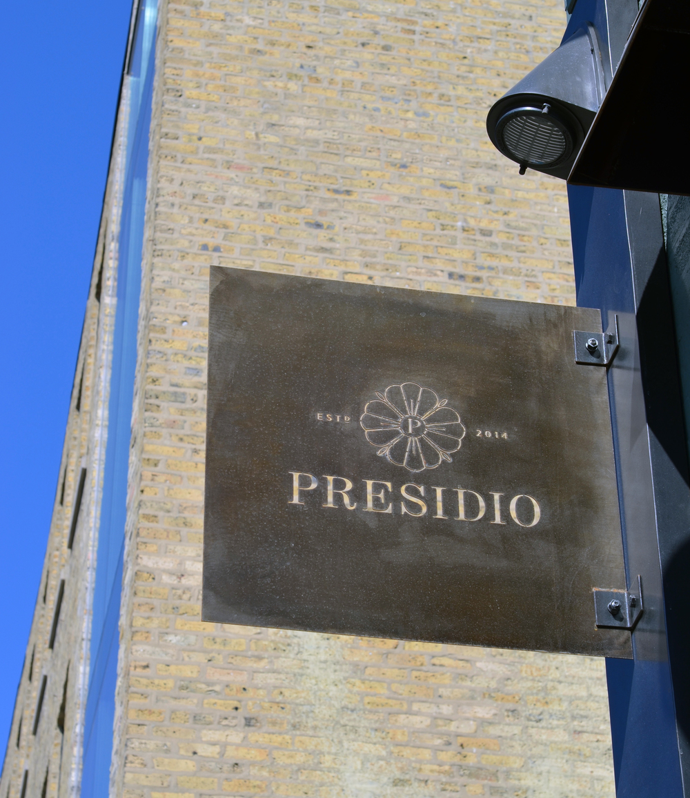 Presidio cocktail bar and restaurant outdoor signage. Some amazing metal work from Wolf Home Design!