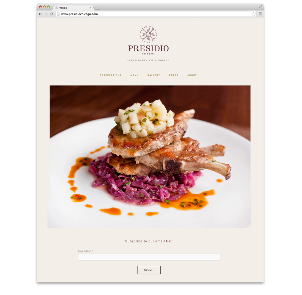 Website design for Presidio Chicago. Had to feature that pork chop! Drool...