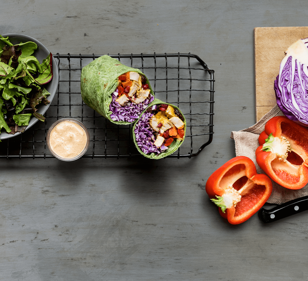 CURRIED CHICKEN WRAP WITH CASHEW SAUCE