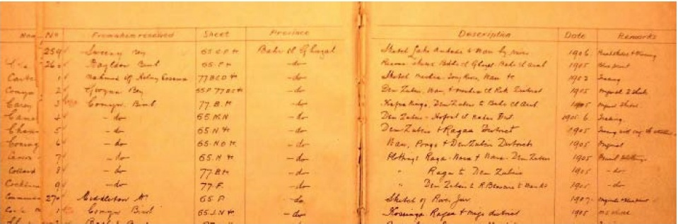 A photograph of the accessions register of the Sudan Survey Department from 1905-6. It gives a sense of the slow accumulation of details (and errors) in the colonial record. This, and Percival's sketch map above, were used by the ABC in their report on Abyei's borders.