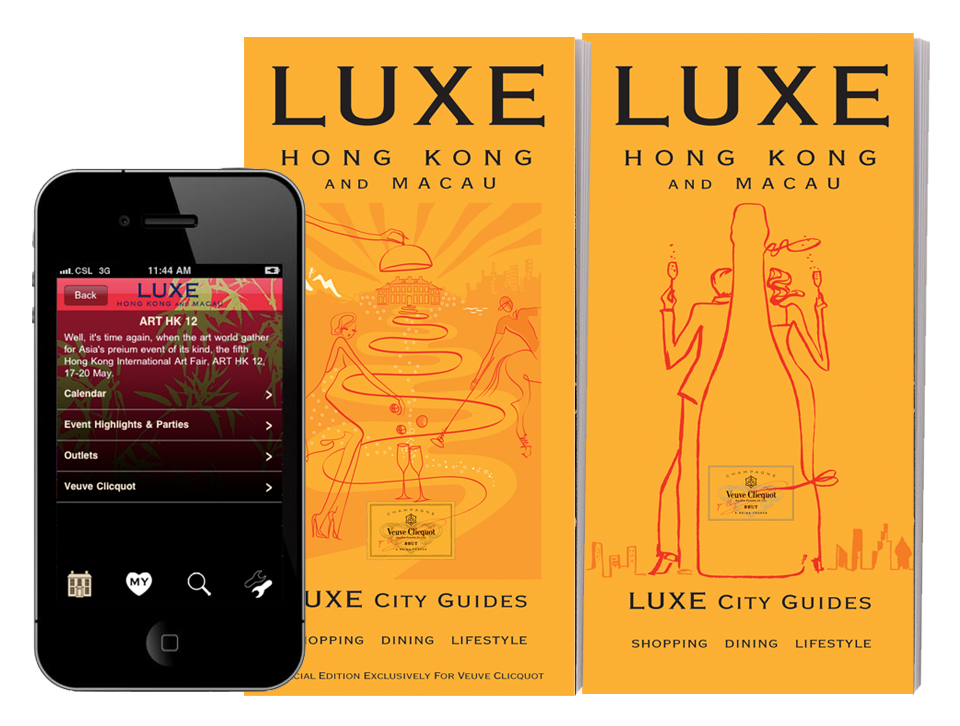 Veuve Clicquot - A Hong Kong guide created exclusively for Veuve Clicquot's involvement in Hong Kong Art Fair for 2011 and 2012 and was gifted to their VIP clients. This content was also incorporated into LUXE's existing Hong Kong app.