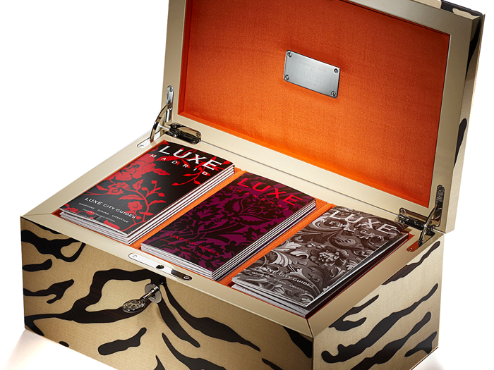 Shanghai Tang - To celebrate the Year of the Tiger in the Chinese calendar, LUXE launched the limited edition 'White Tiger Chest' in 2010 with Shanghai Tang. Each box was handmade and engraved in marquetry, containing 30 fabulous LUXE guides.