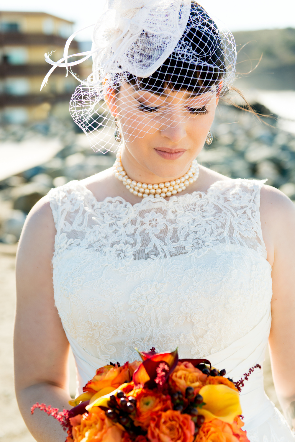 Bride with vibrant bouquet