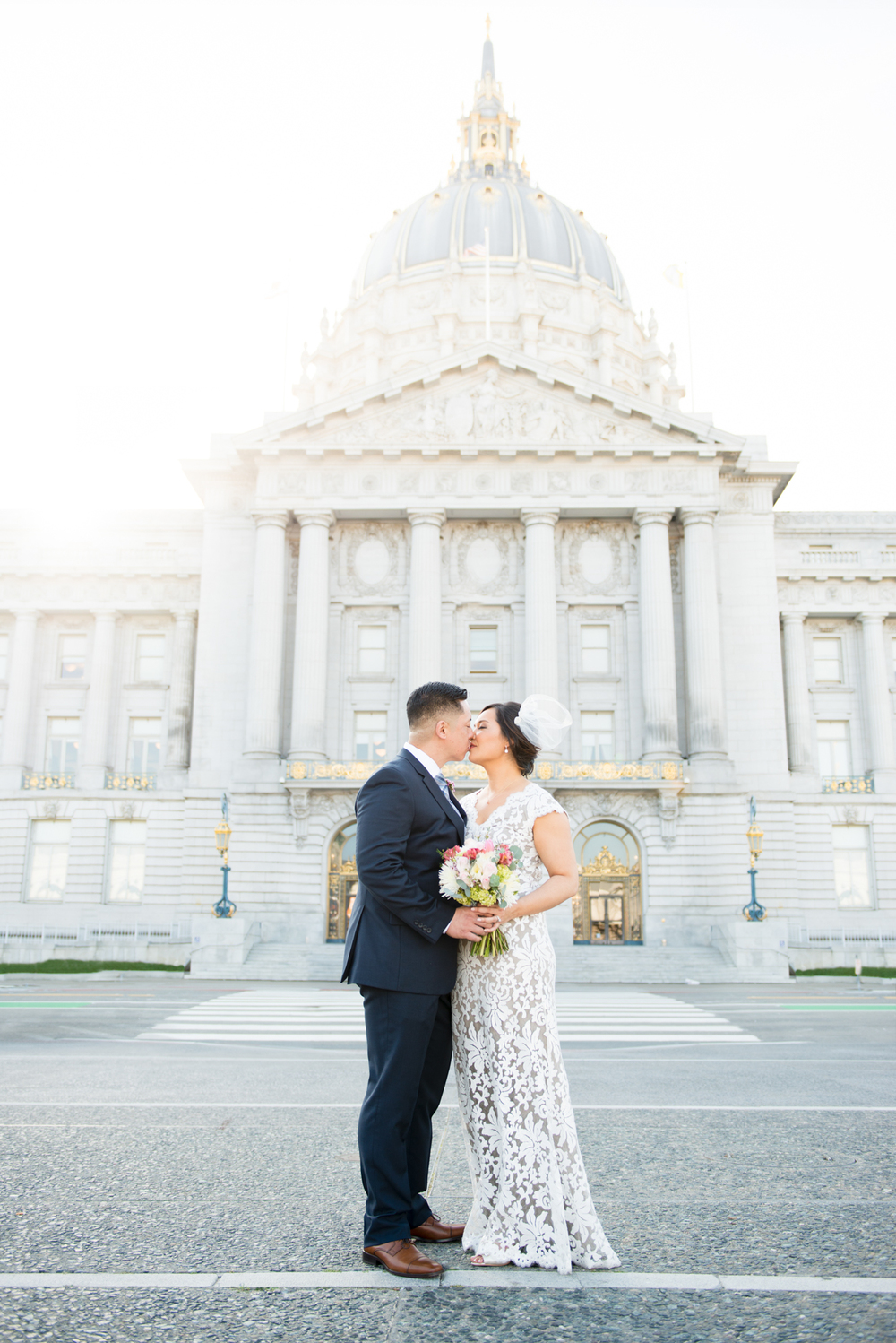 A Romantic Kiss Outside SF City Hall