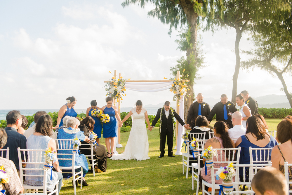 Hawaiian Prayer at Local Kauai Wedding