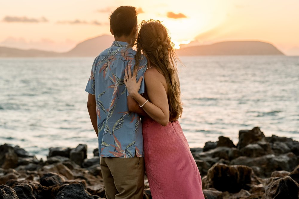 Oahu Sunrise Engagement Session with Megan Moura Photography.