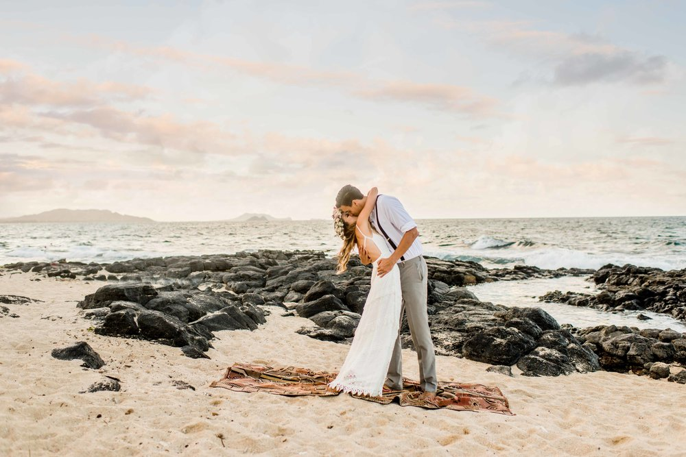 Oahu Elopement at Makapuu Beach with Megan Moura Photography.