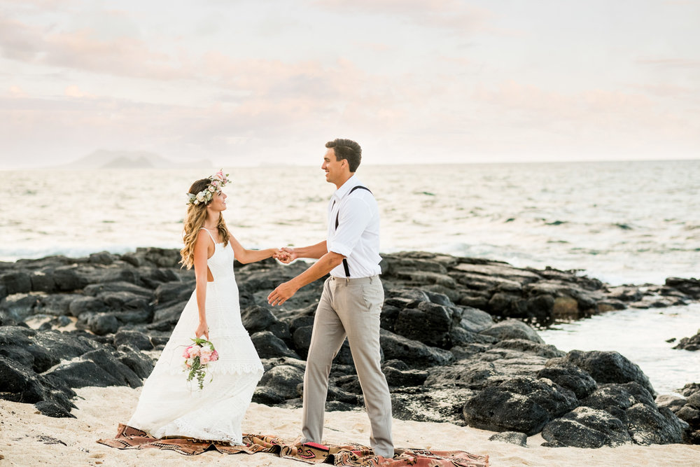 Oahu Wedding and Elopement Photography on Oahu's east side. Makapuu Tidepools at sunset.