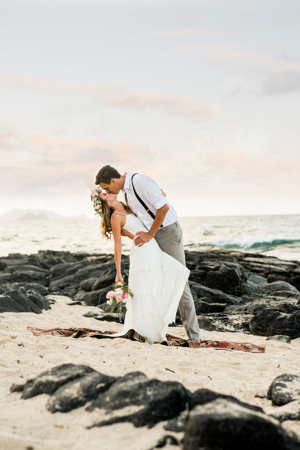 Oahu Wedding and Elopement Photography on Oahu's east side.  Makapuu Tidepools at sunset.