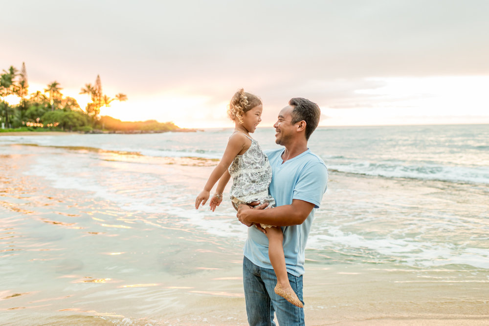 Kauai Family Photography during sunrise on Kauai's east shore.