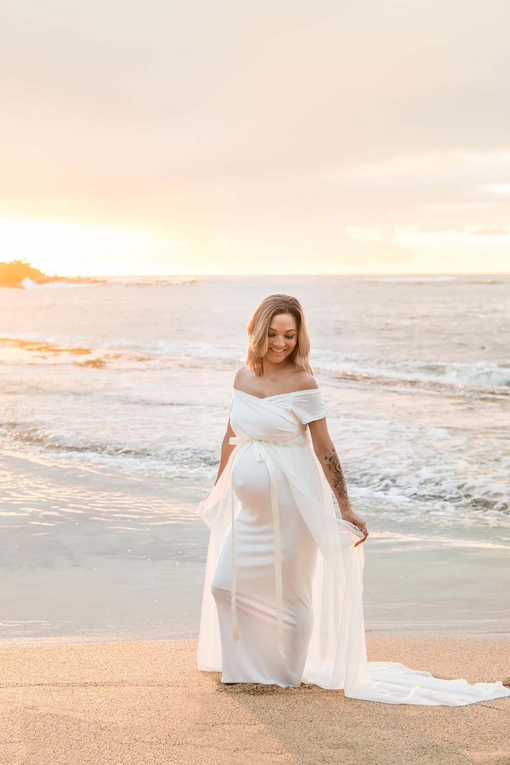 Kauai Maternity Photography at sunrise.  Beautiful mama wearing dress by Sexy Mama Maternity.