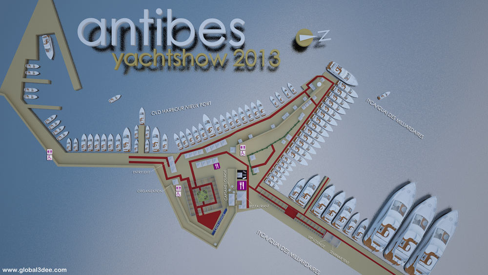 Global 3Dee was responsible for the show maps for the prestigious 'Antibes Yacht Show' 2012 and 2013