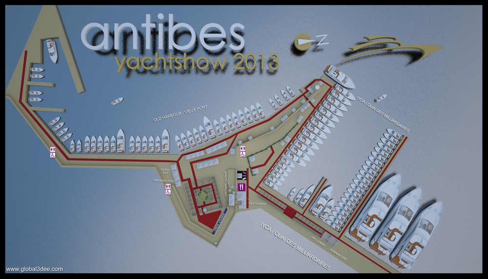 Antibes Yacht show (AYS) French Riviera 2013 map